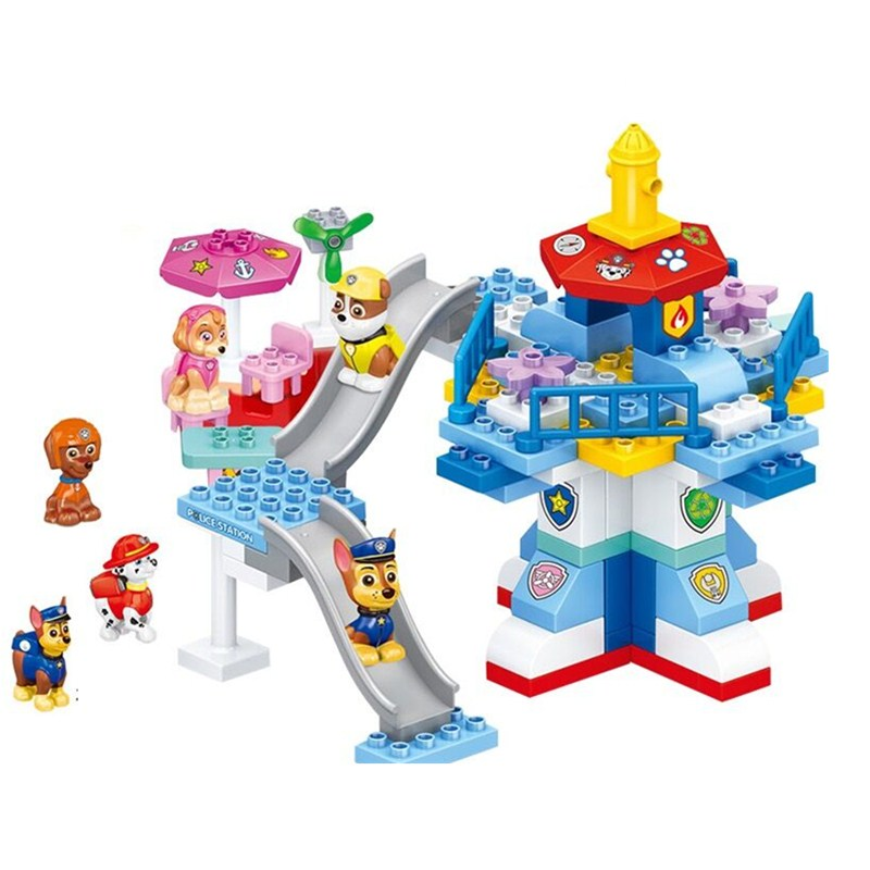 Paw Patrol Toys Set Building Blocks Paw Patrol Dog Large Particles Assembled Building Blocks Children's Play House Toy Gift