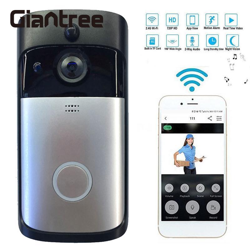 Wifi vidéo sonnette PIR capteur de mouvement sans fil à distance vidéo appel sonnette interphone infrarouge Vision nocturne téléphone portable porte vidéo
