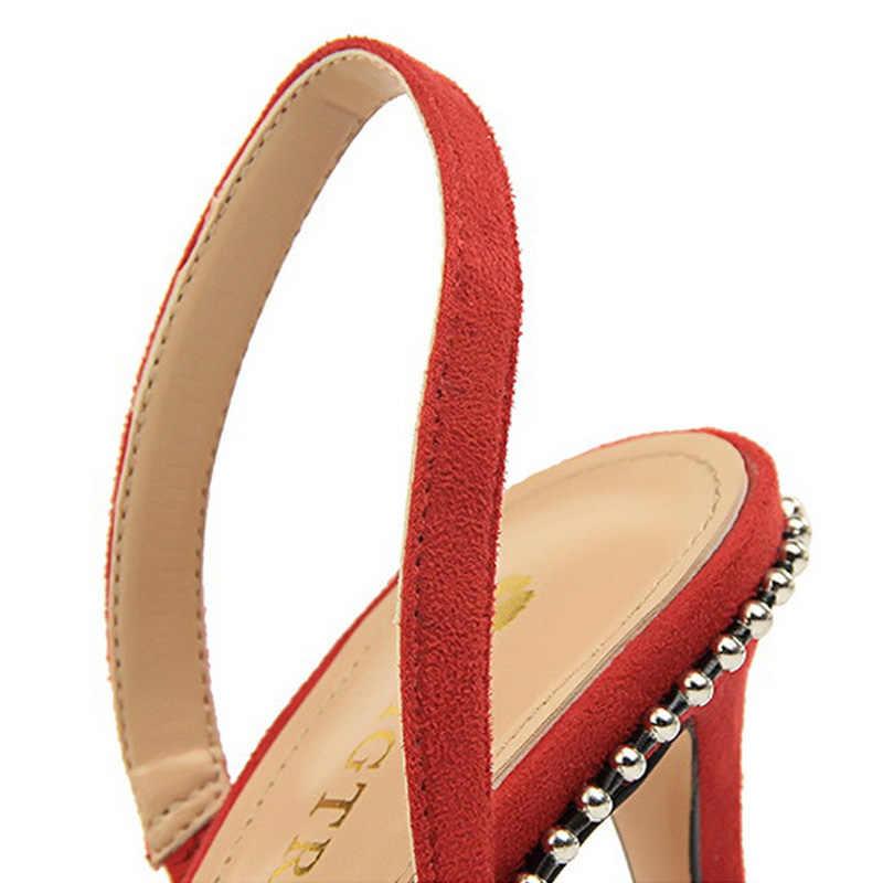 BIGTREE Pompe Delle Donne della molla Nuove Donne Degli Alti Talloni della Pelle Scamosciata Delle Donne Scarpe Tacco Alto sandali delle Donne di Cristallo Scarpe Da Sposa rosso nero