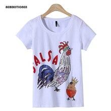 Women 2017 Summer Short Sleeve diamond letter chickens Print T shirts Fashion slim White black Top Tees Women Designer Clothing