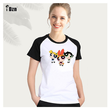 Summer Womens T-shirt Short Sleeve Print T Shirts Cartoon The Powerpuff Girls Blossom Bubbles Buttercup Graphic Tshirt