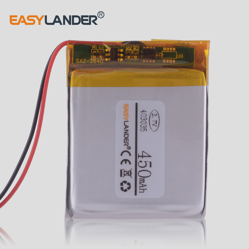 <font><b>403035</b></font> <font><b>3.7V</b></font> 450mAh Lithium Polymer li ion Rechargeable Battery cells For Mp3 Player game pad dash cam video recorder DVR image