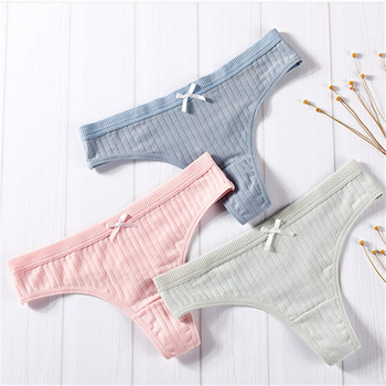 3 Piece Pack Women's Cotton G-String Thong Panties Underwear Briefs Sexy Lingerie Pants Intimate Ladies Letter Low-Rise 2