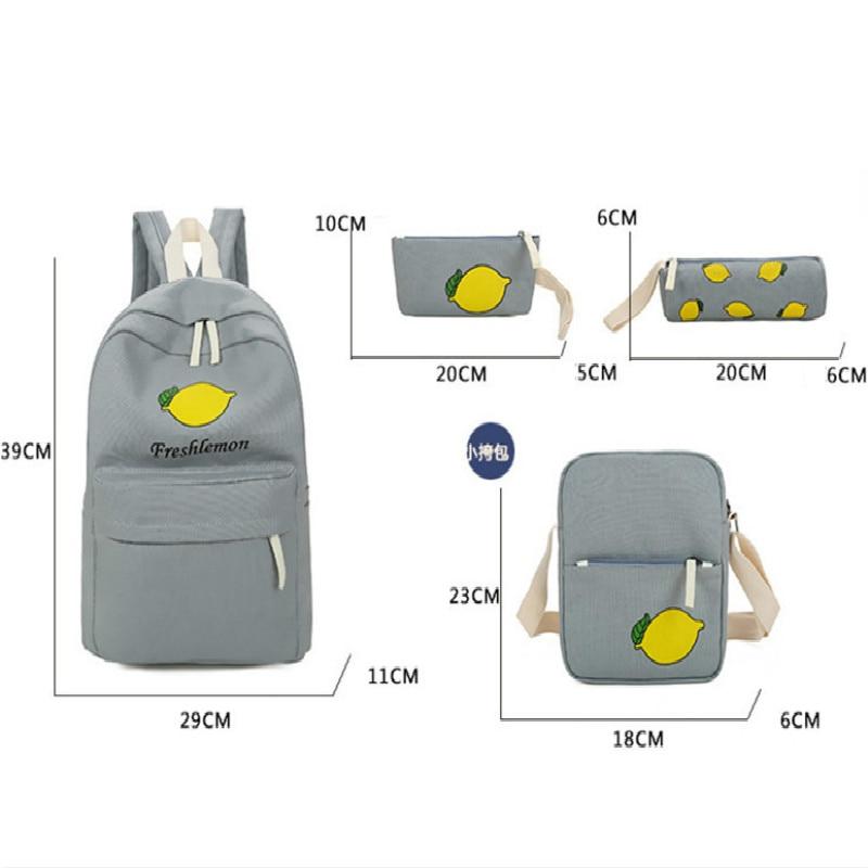 2018 Girls Canvas Backpack 4 Pcs/set Women School Backpacks Schoolbag For Teenagers Student Book Bag High Quality Boys Satchel