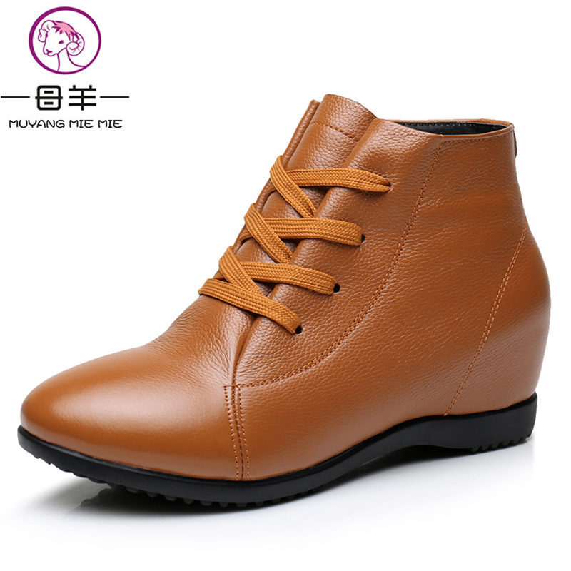 MUYANG MIE MIE Size 33-43 Winter Women Shoes Woman Genuine Leather Wedges Snow Boots Height Increasing Ankle Boots Women Boots muyang mie mie 2017 spring women shoes genuine leather casual shoes woman wedges shoes high heels fashion women pumps