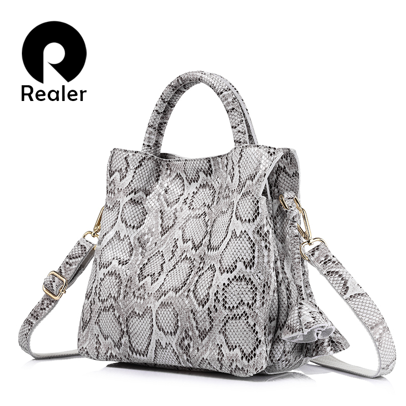 REALER crossbody women handbag serpentine print genuine leather tote shoulder bag female fashion large capacity crossbody bags yuanyu 2018 new hot free shipping python skin women handbag single shoulder bag inclined female bag serpentine women bag