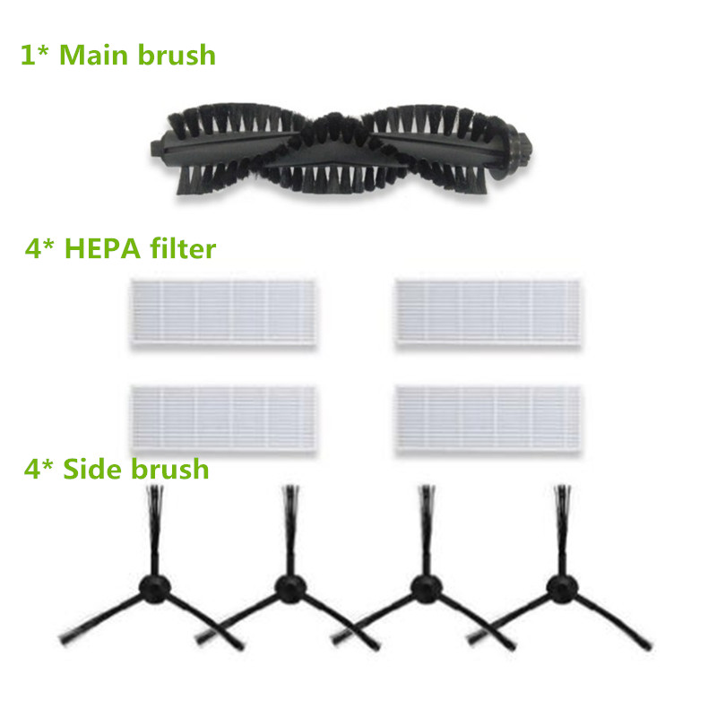 4* Robotic Dust HEPA Filter + 4*Side Brush + 1*Main Brush for ILIFE A4s Robot Vacuum Cleaner Accessories Parts 6v 2000mah rechargeable battery for karcher robotic rc3000 2 891 029 0 vacuum robot robotic cleaner accessories parts