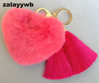 Zalzyywb Pom Pom Leather Rabbit Fur Love Keychain Plush Key Chain Doll Keychain Charm Golf Cart