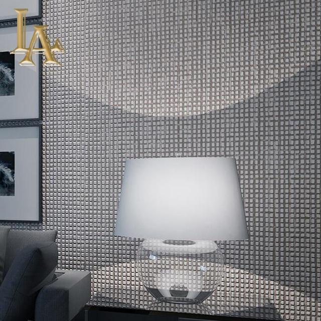 moderne eenvoudige luxe interieur gevlokt plaid geweven gestreepte behang slaapkamer woonkamer bruin grijs 3d rollen