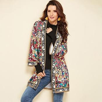 Ethnic Printed Floral Jacket 2018 Women Autumn Winter Long Sleeve Side Split Casual Outdoor Clothes Ladies Retro Cardigan Long Jacket