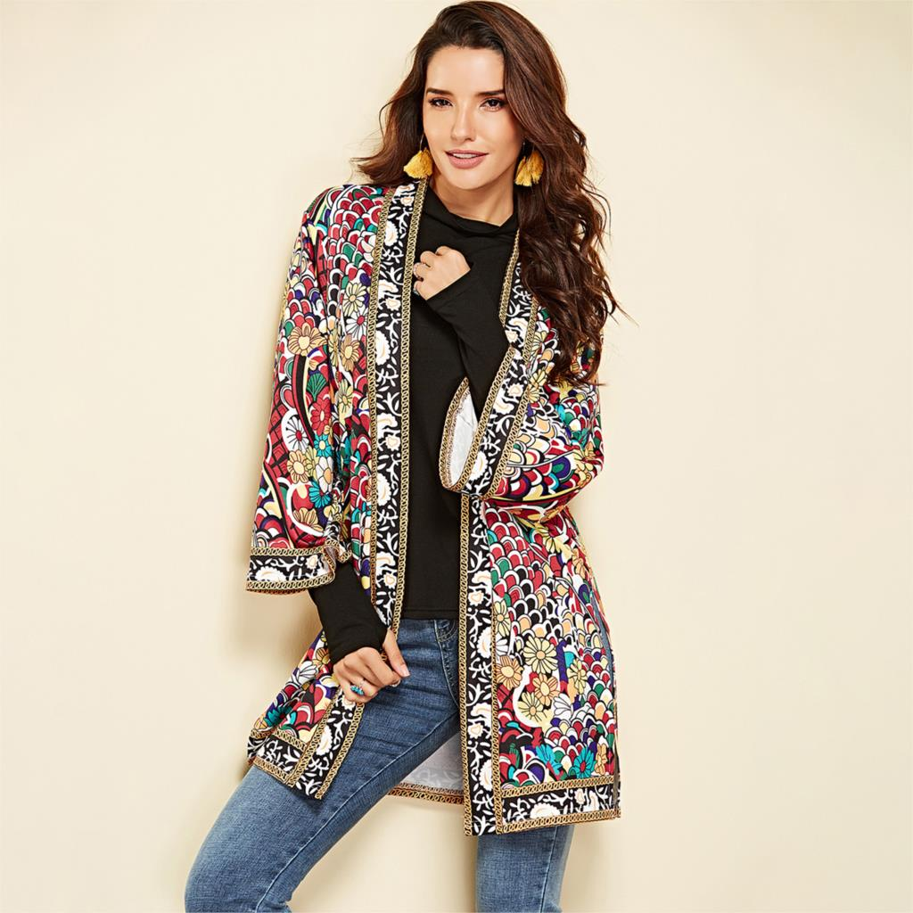 Ethnic Floral Print Jacket 2020 Women Autumn Winter Long Sleeve Side Split Casual Outerwear Ladies Retro Long Cardigan Jacket