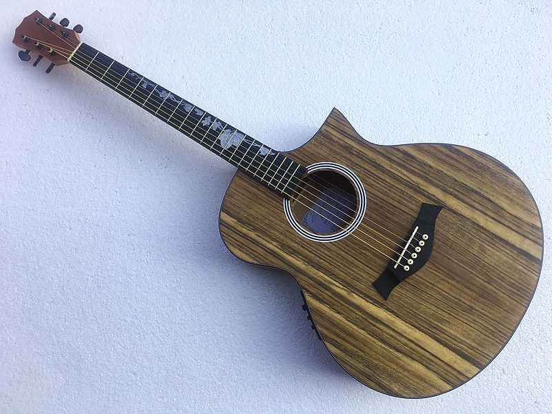 good quality special style hickory wood electric acoustic guitar