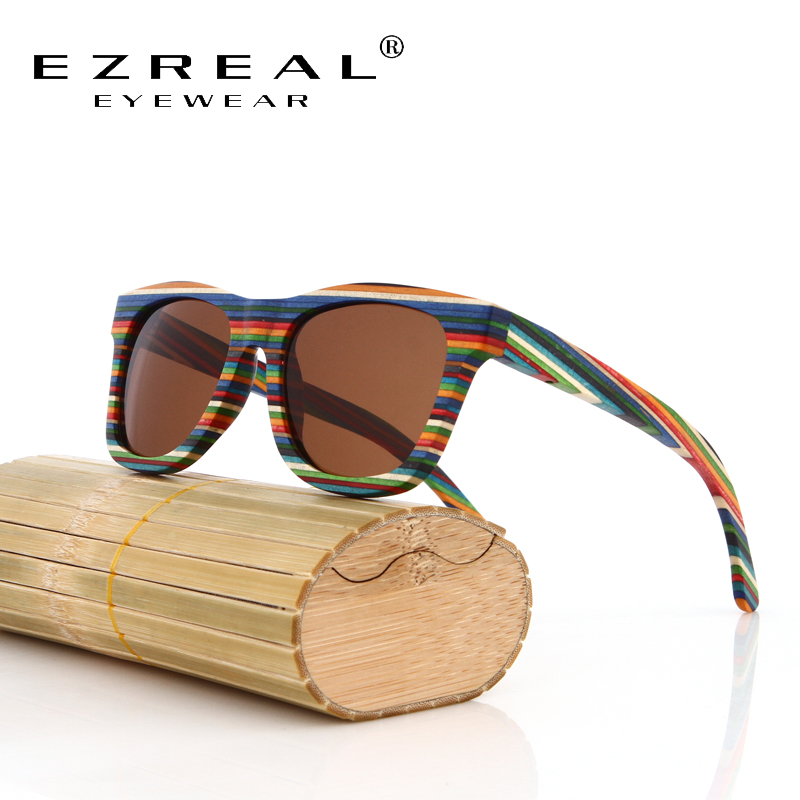 EZREAL Original Wooden Bamboo Sunglasses Men Women Mirrored UV400 Sun Glasses Real Wood Shades Goggles Sunglases Male