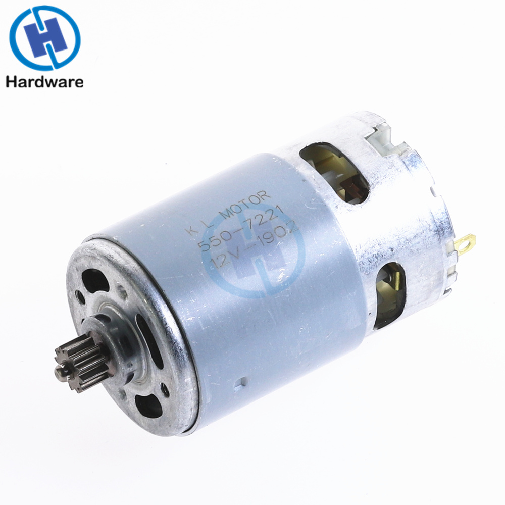 1PC Stable Electric RS550 Motor 12V / 16.8V/ 21V 12 Teeth Gear 1.0 Mold 3mm Shaft Dia. For Cordless Charge Drill Screwdriver