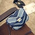 Calças de Ganga da moda Saco das Mulheres Do Vintage Bolsa de Ombro Pequena Denims Mini Chains Shoulder Crossbody Bag Para Lady