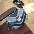 Fashion Blue Jeans Bag Women's Vintage Small Denims Shoulder Bag Mini Chains Crossbody Shoulder Bag For Lady