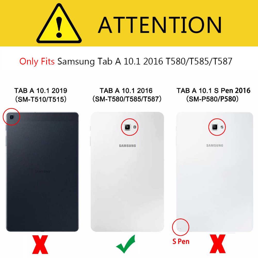 Fashion Kartun Case untuk Samsung Galaxy Tab A6 10.1 2016 T580 T585 SM-T585 Case Menutupi Tablet Smart Stand TPU + PU Kulit