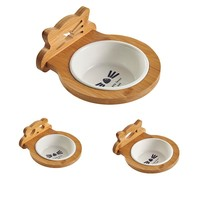 Creative Pet Dog Cat Bamboo Feeding Bowl Frame Lock Ceramic Bowls Caged Pets Food Water Feeder Eco Friendly Cute Shape