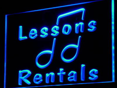 i831 Music Lessons Rentals School Decor Neon Light Sign On/Off Swtich 20+ Colors 5 Sizes