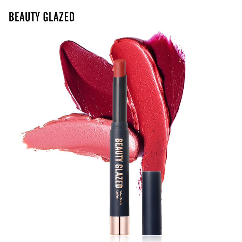 Beauty Glazed Lips Color Lipstick non stick cup Matte Lip Stick Waterproof Makeup Cosmetics Red Batom Pencil Velvet maquillage in Lipstick from Beauty Health