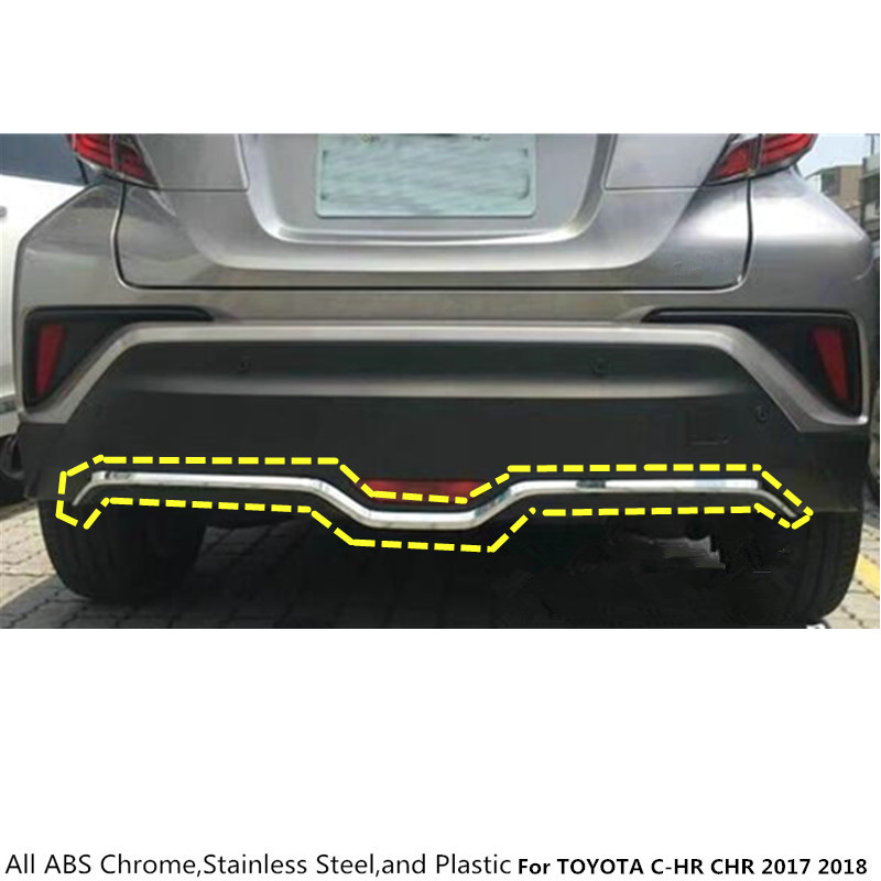 car body cover protection Bumper ABS Chrome trim rear back tail bottom hoods pedal moulding 1pcs For TOYOTA C-HR CHR 2017 2018 high quality abs chrome rear bumper scuff trim for 2015 toyota highlander