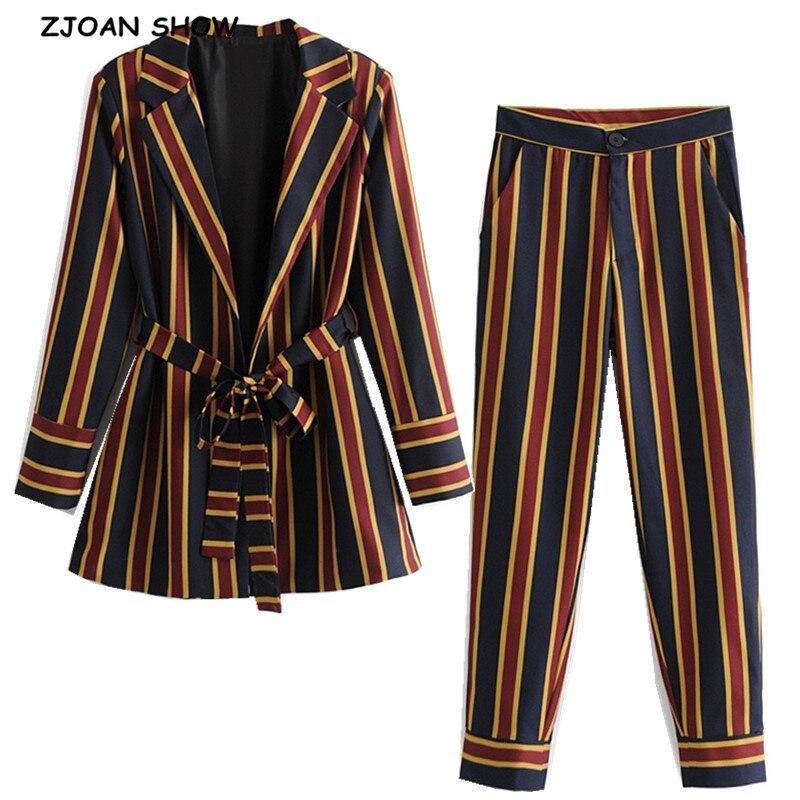 Женский костюм с брюками, комплект из 2 частей в полоску контрастного цвета с прямыми брюками с завышенной талией и блейзером с длинным рукавом, для весны, 2019