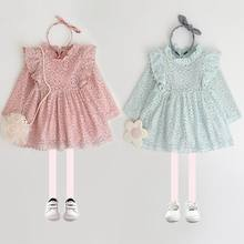 2017 Autumn New Girl Dress Flare Sleeve Lace Pom Pom Princess Long Sleeve Dress Children Clothing E0802