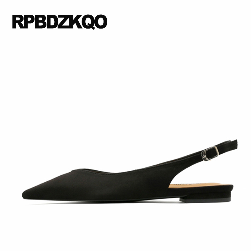 Fashion European Slingback Slip On Suede Latest 2017 Flats Pointed Toe Women Black Size 34 Ankle Strap Pointy Ladies Beautiful suede