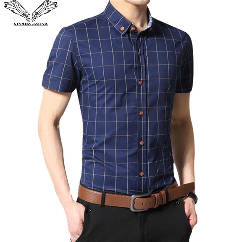 VISADA JAUNA Nyári rövid ujjú üzleti alkalmi férfi póló Fit Slim Social Cotton Grid Homme Camisas plusz méretű férfi ing N202