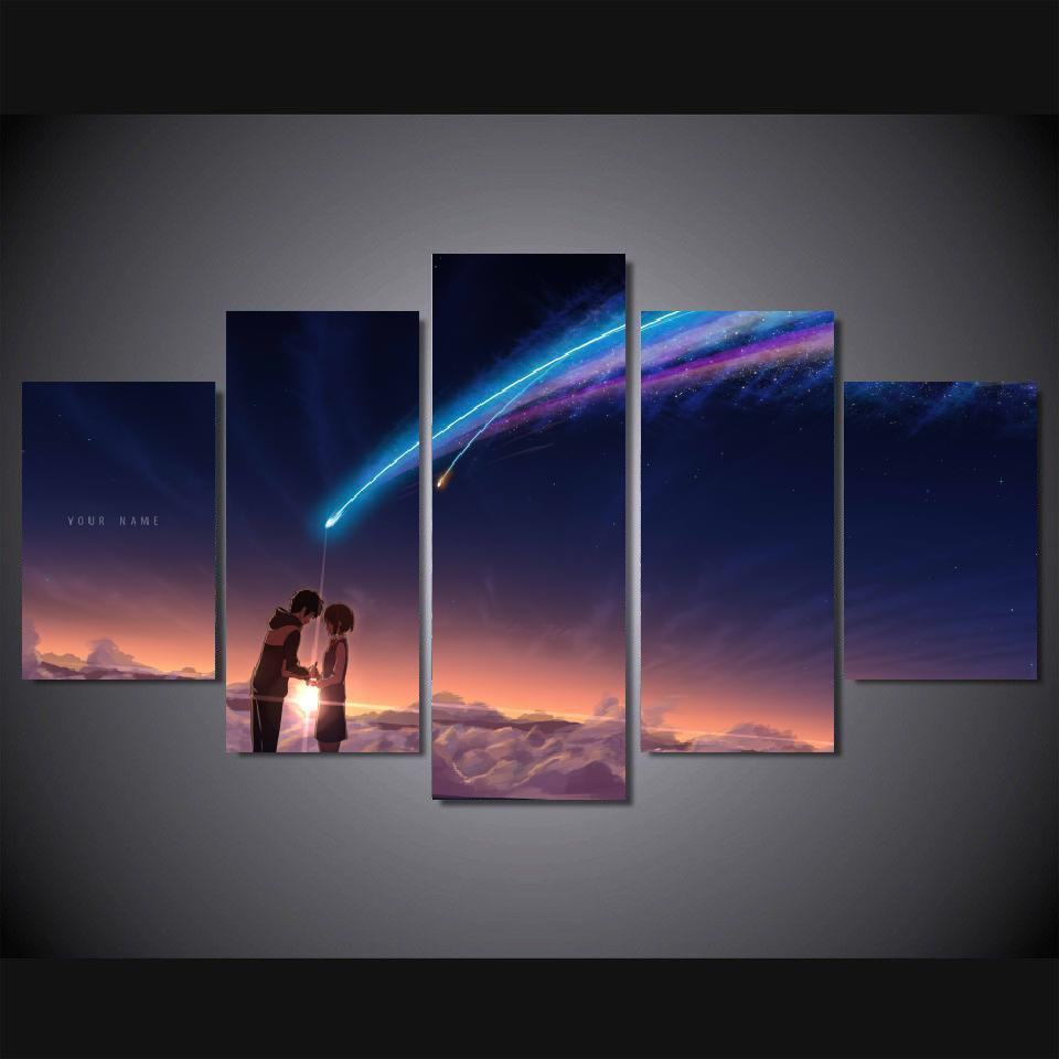 Us 18 89 30 Off 5 Panels Wall Art Your Name Kimi No Na Wa Paintings Art Canvas Paintings Poster Unframed 02 In Painting Calligraphy From Home