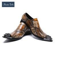 Christia Bella/Роскошные Мужские модельные туфли коричневого цвета из натуральной кожи, мужские туфли с острым носком в деловом стиле, Sepatu Pria, мужс