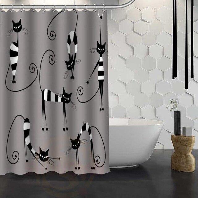 Hot Sale Custom Cartoon cat Shower Curtain Waterproof Fabric ...