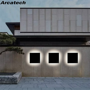 LED Outdoor Waterproof Wall Light Square LED Garden Wall Lamp Aisle Light Exterior Wall Balcony Corridor Aluminum Lighting NR21