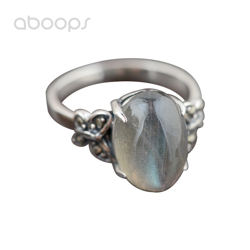 Vintage 925 Sterling Silver Prong Setting Oval Solitaire Moonstone Ring with Butterfly for Women Girls Size 6 7 8 Free Shipping vintage artificial oval turquoise butterfly carved ring