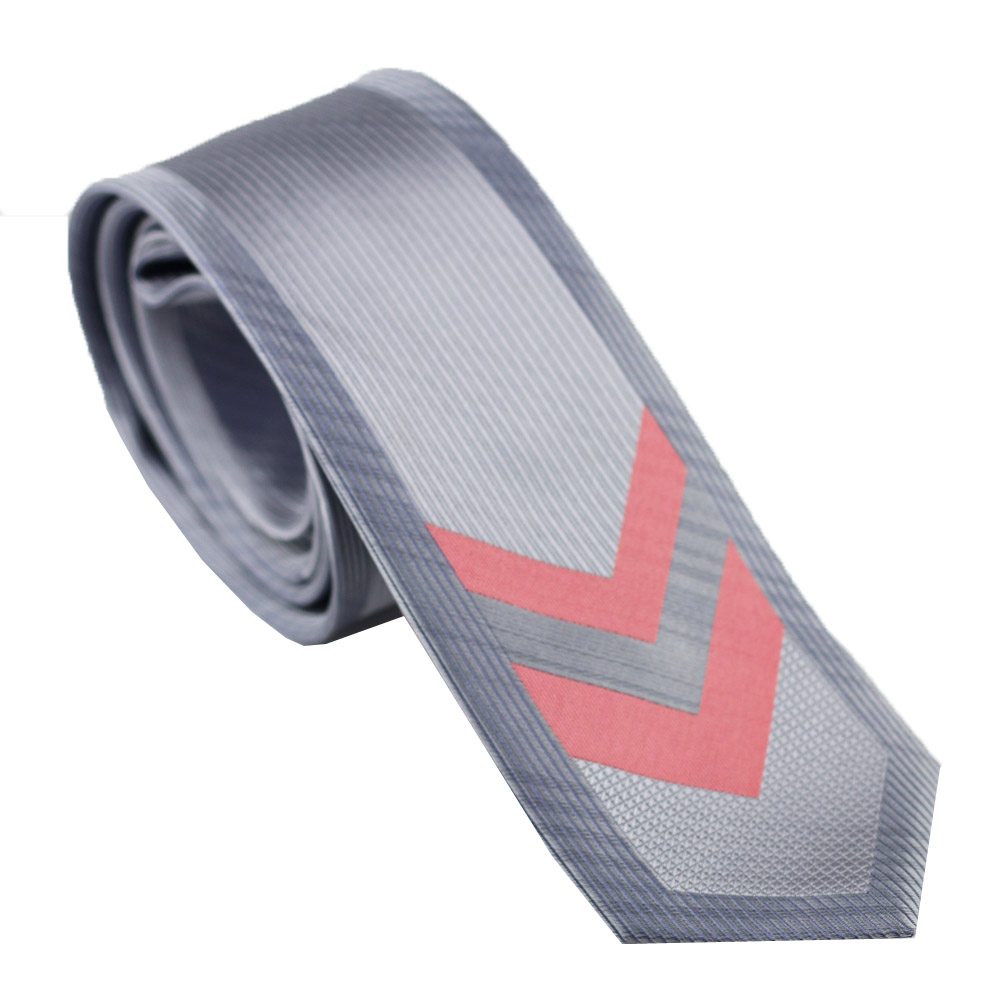 Lammulin Mens Ties Bordered Grey Silver With Peach Coral Pink