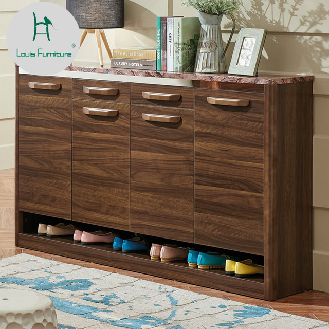 Louis Fashion Shoe Rack Living Room Partition Hall Cabinet Wooden Large  Capacity Walnut Color