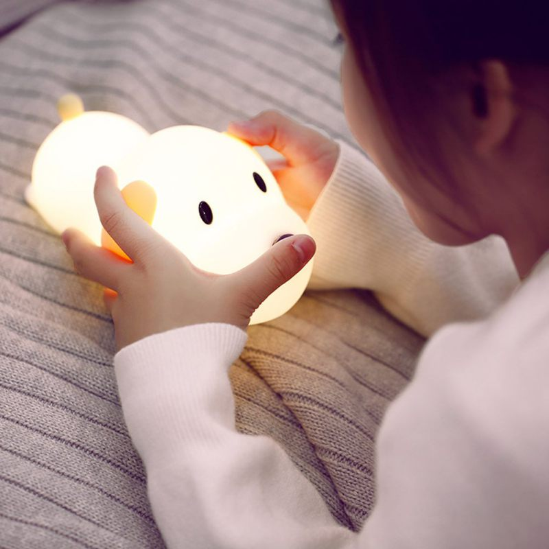 Portable Silicone Night Light Cute Puppy Dog LED USB Rechargeable Bedside Timer Night Lamp