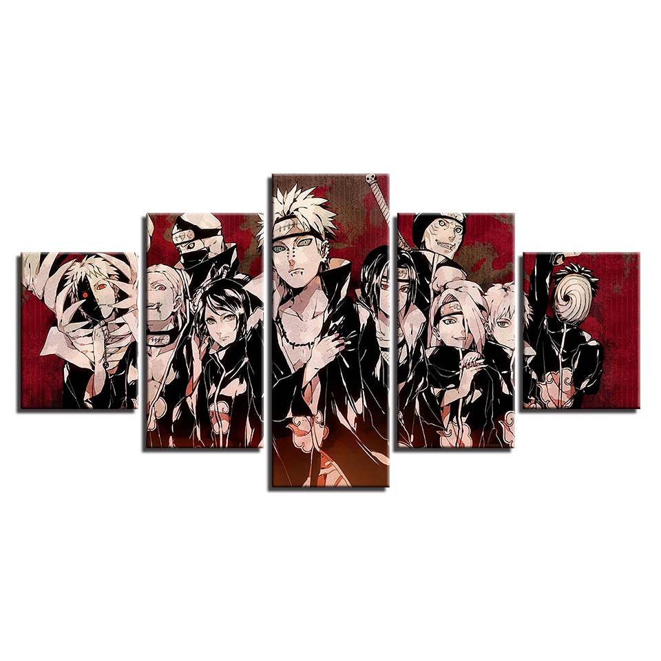 Pictures Framework Living Room HD Printed 5 Panel Animation Naruto Characters Home Decoration Posters Modern Wall Art Painting in Painting Calligraphy from Home Garden