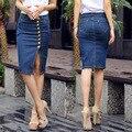 Las mujeres Falda de Mezclilla 2016 Frente de La Moda Botón Pantalones Vaqueros Del Lápiz Faldas Para Mujer de Falda de Verano de La Vendimia