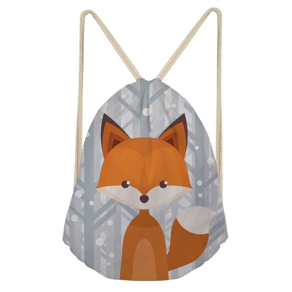 THIKIN Cartoon Fox And Moose Children Portable Beach Backpack Fashion Animal Good Quality Women Men Drawstring Bags Mochila