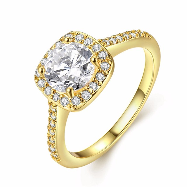 GNIMEGIL Silver/Gold/Rose Gold Engagement Rings For Women Cubic Zircon Fashion Bridal Wedding Ring bijoux femme