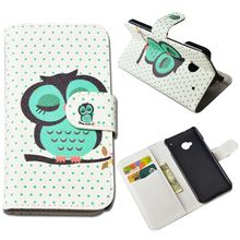 Cute Printing Leather Case for HTC One M7 801e Flip Cover Wallet Case with ID Card