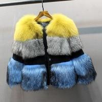 luxury natural fox fur coat for women 3 colors genuine fox fur slim short jacket fashion luxury 2018 new style high quality coat