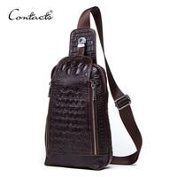 CONTACT'S Fashion Genuine Leather Men chest Bag 100% Cow Leather Vintage Crossbody Bags Men Shoulder Bags Men's Messenger Bag