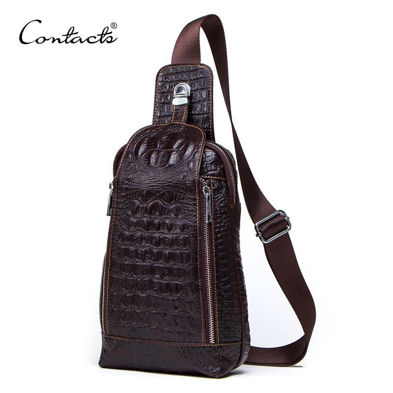 CONTACT'S Fashion sac à bandoulière en cuir véritable pour hommes 100% sacs à bandoulière Vintage en cuir de vache sacs à bandoulière pour hommes sac à bandoulière pour hommes