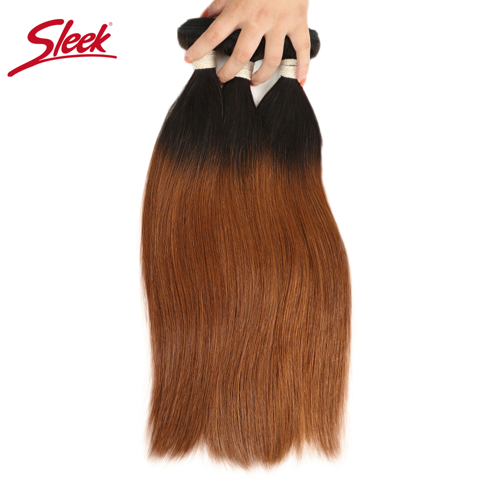 Sleek Peruvian 2 Tone Colo Ombre T1b/30 Color Hair Weave1/3/4 Bundles Straight Human Hair Extension For Free Shipping None Remy Hair Weaves Human Hair Weaves