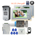"Free Shipping BRAND 7"" Color Screen Video Intercom Door Phone + 2 Record Monitors + RFID Access Doorbell Camera + 8G SD + E-lock"