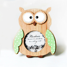 Cute Owl Shape Children Photo Frame Wooden Single Cartoon Picture Gift Home Decoration Kids