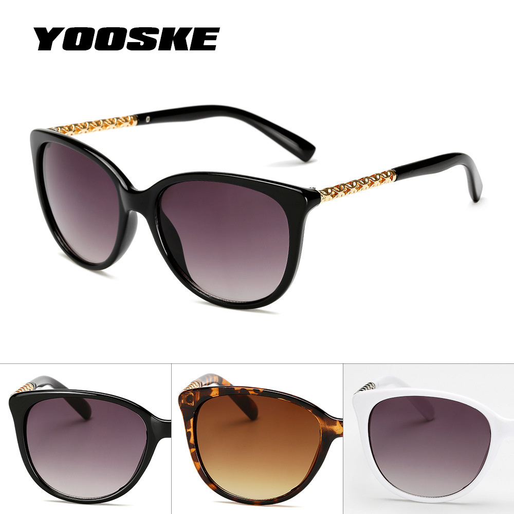 YOOSKE Oversized Sunglasses Women Luxury Brand Gradient Shades Sun Glasses Female Vintage Big Frame Sunglass Hollow Frame