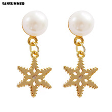 Sansummer 2019 New Hot Fashion Hollow Star Pendant Freshwater Pearls Drop Earrings For Women Charm Feautiful Jewelry 7019g цена и фото
